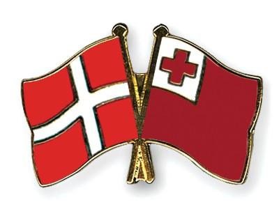 Crossed Flag Pins Denmark-Tonga