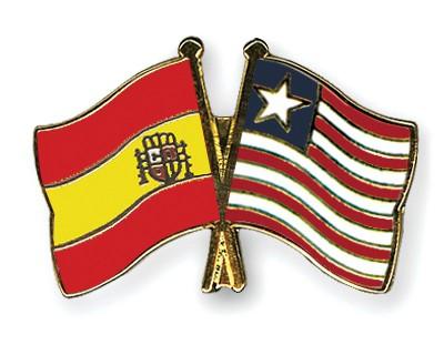Crossed Flag Pins Spain-Liberia