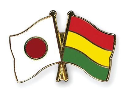 Crossed Flag Pins Japan-Bolivia
