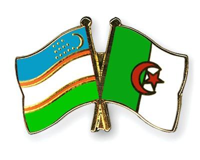 Crossed Flag Pins Uzbekistan-Algeria