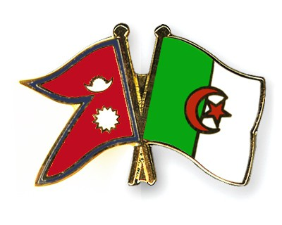 Crossed Flag Pins Nepal-Algeria