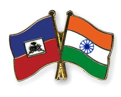 Crossed Flag Pins Haiti-India