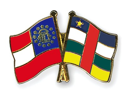 Crossed Flag Pins Georgia-Central-African-Republic