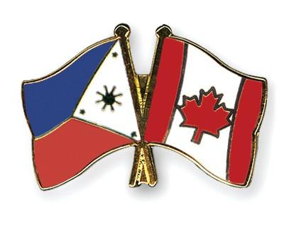 Crossed Flag Pins Philippines-Canada