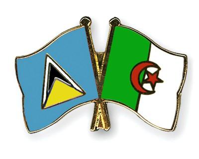 Crossed Flag Pins Saint-Lucia-Algeria