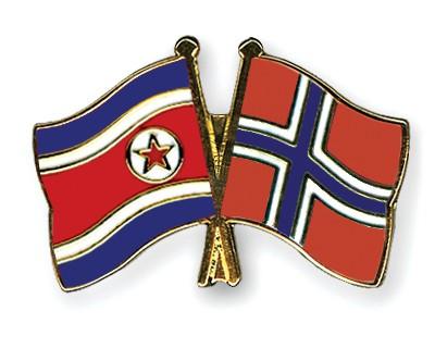 Crossed Flag Pins North-Korea-Norway