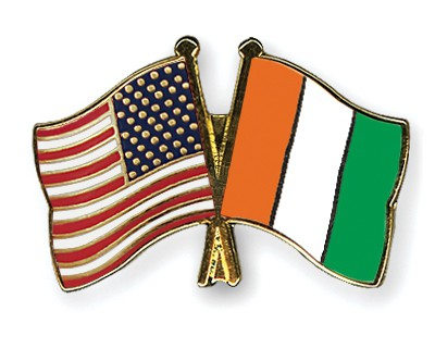 Crossed Flag Pins USA-Cote-d-Ivoire