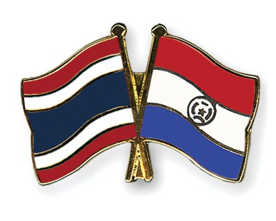 Crossed Flag Pins Thailand-Paraguay