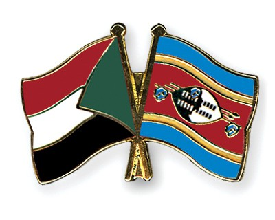 Crossed Flag Pins Sudan-Swaziland