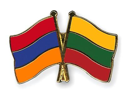 Crossed Flag Pins Armenia-Lithuania