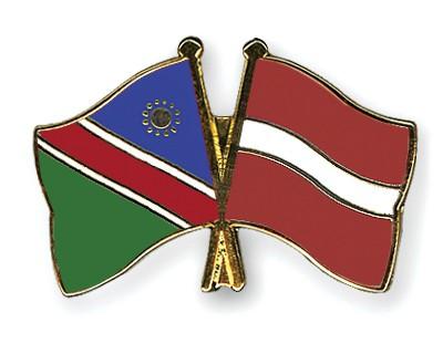 Crossed Flag Pins Namibia-Latvia