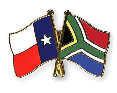 Crossed Flag Pins Texas-South-Africa