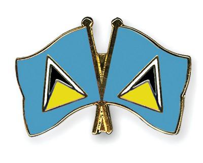 Crossed Flag Pins Saint-Lucia-Saint-Lucia