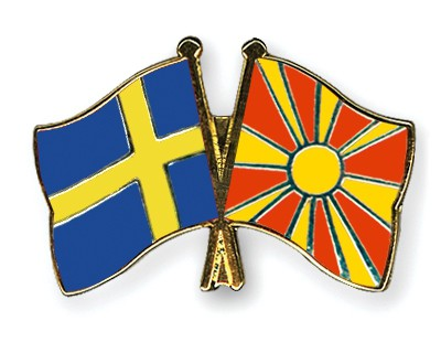 Special Offer Crossed Flag Pins Sweden-Macedonia