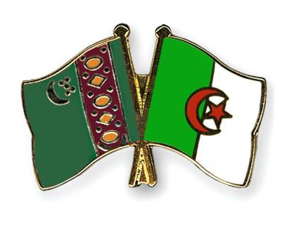 Crossed Flag Pins Turkmenistan-Algeria