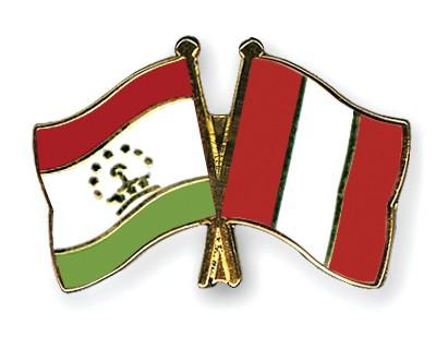 Crossed Flag Pins Tajikistan-Peru