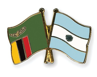 Crossed Flag Pins Zambia-Argentina