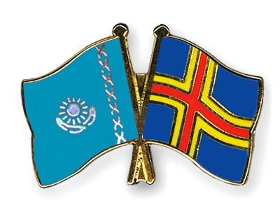 Crossed Flag Pins Kazakhstan-Aland