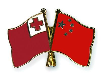 Crossed Flag Pins Tonga-China