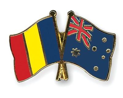 Special Offer Crossed Flag Pins Romania-Australia