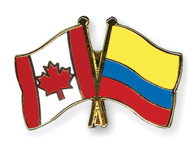 Special Offer Crossed Flag Pins Canada-Colombia