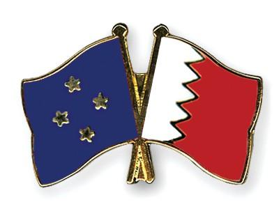 Crossed Flag Pins Micronesia-Bahrain