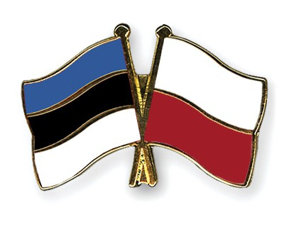 Crossed Flag Pins Estonia-Poland