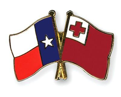 Crossed Flag Pins Texas-Tonga