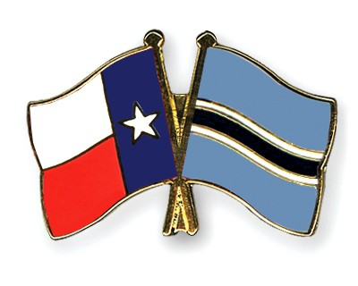 Crossed Flag Pins Texas-Botswana
