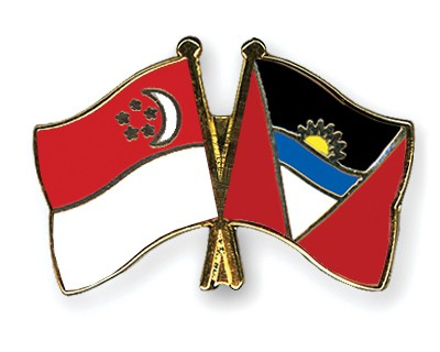 Crossed Flag Pins Singapore-Antigua-and-Barbuda