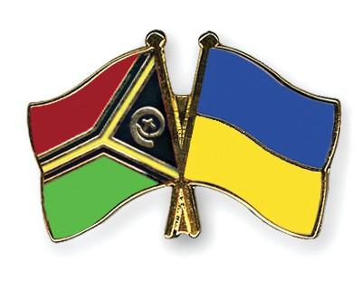 Crossed Flag Pins Vanuatu-Ukraine