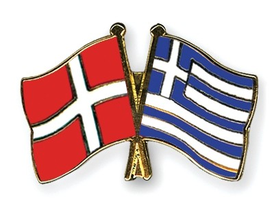 Special Offer Crossed Flag Pins Denmark-Greece