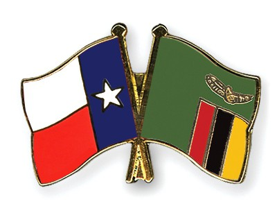 Crossed Flag Pins Texas-Zambia
