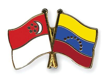 Crossed Flag Pins Singapore-Venezuela