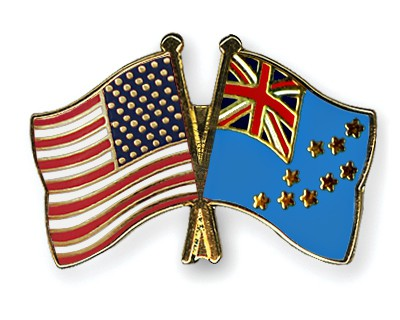 Crossed Flag Pins USA-Tuvalu
