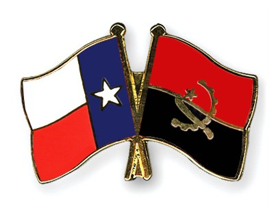 Crossed Flag Pins Texas-Angola