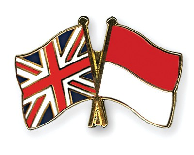 Crossed Flag Pins Great-Britain-Indonesia