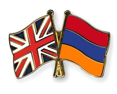 Crossed Flag Pins Great Britain-Armenia