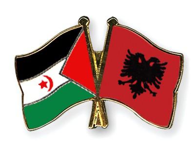 Crossed Flag Pins Western-Sahara-Albania