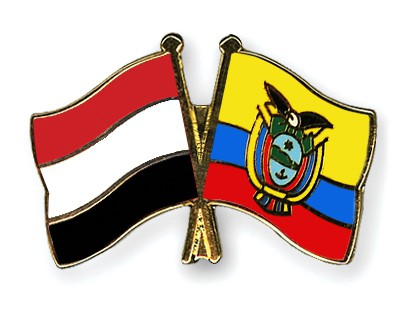 Crossed Flag Pins Yemen-Ecuador