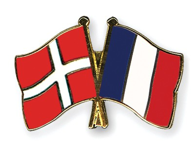 Special Offer Crossed Flag Pins Denmark-France
