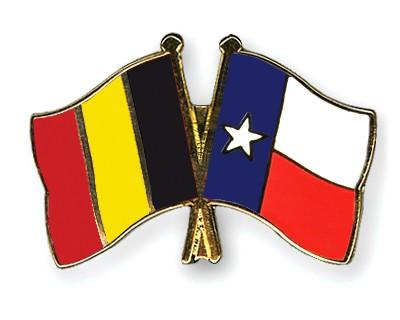 Crossed Flag Pins Belgium-Texas