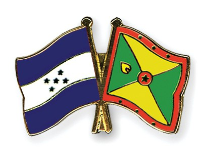 Crossed Flag Pins Honduras-Grenada