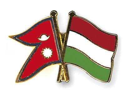 Crossed Flag Pins Nepal-Hungary