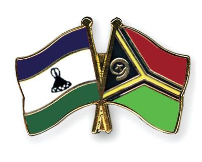 Crossed Flag Pins Lesotho-Vanuatu