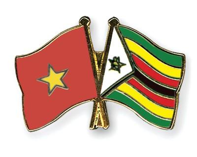 Crossed Flag Pins Vietnam-Zimbabwe