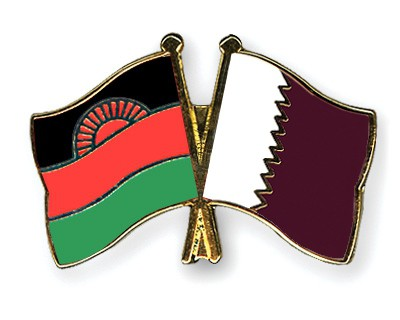 Crossed Flag Pins Malawi-Qatar