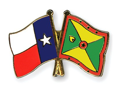 Crossed Flag Pins Texas-Grenada