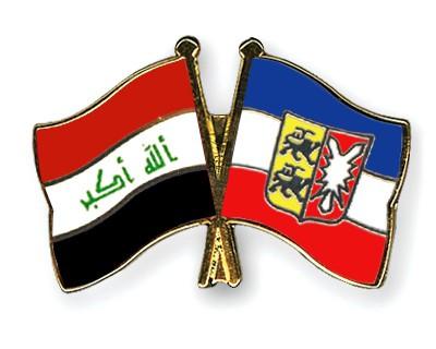 Crossed Flag Pins Iraq-Schleswig-Holstein