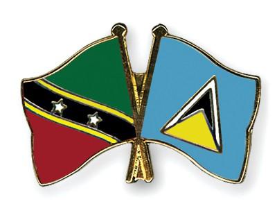 Crossed Flag Pins Saint-Kitts-and-Nevis-Saint-Lucia
